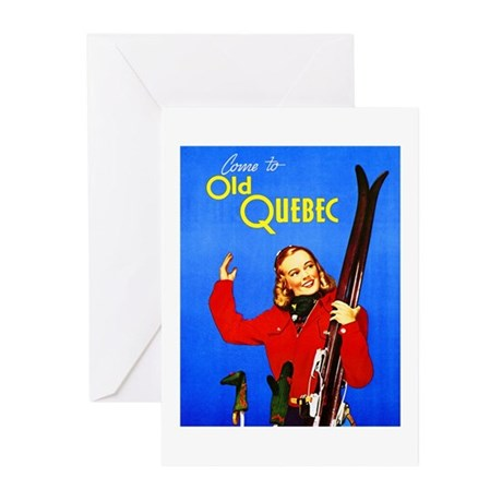 Quebec Travel Poster 1 Greeting Cards (Pk of 20)