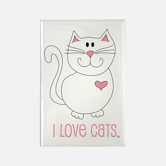 I Love Cats Rectangle Magnet