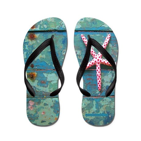 Starfish And Old Turquoise Paint Flip Flops By Rebeccakorpita