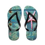 Starfish and Old Turquoise Paint Flip Flops