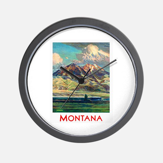 Montana Travel Poster 4 Wall Clock