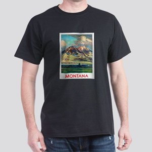 Montana Travel Poster 4 Dark T-Shirt