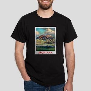 Montana Travel Poster 4 Dark T-Shirt