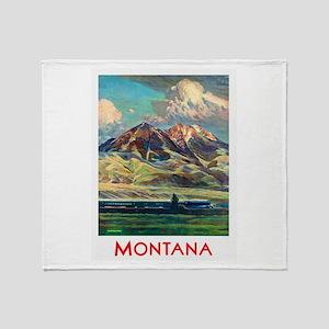 Montana Travel Poster 4 Throw Blanket