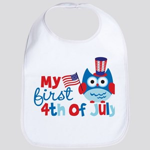 Owl My First 4th of July Bib