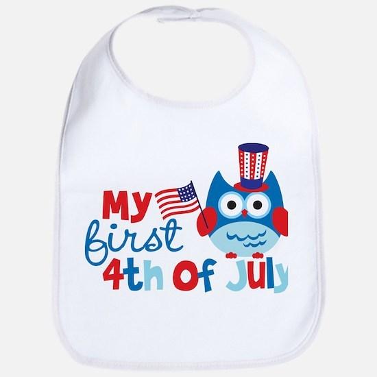 Owl My First 4th of July Bib