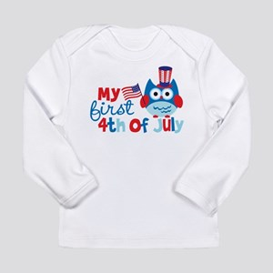 Owl My First 4th of July Long Sleeve Infant T-Shir