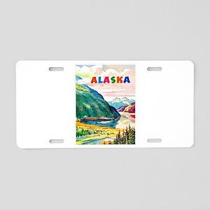 Alaska Travel Poster 2 Aluminum License Plate