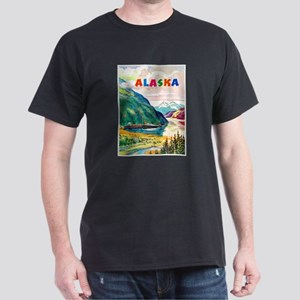 Alaska Travel Poster 2 Dark T-Shirt