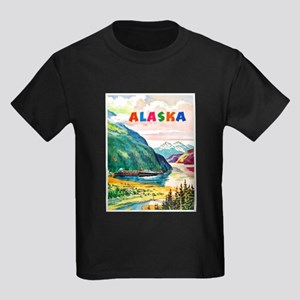 Alaska Travel Poster 2 Kids Dark T-Shirt