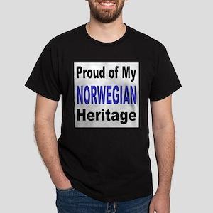 Proud Norwegian Heritage (Front) Black T-Shirt