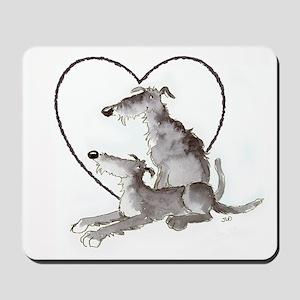 Scottish Deerhounds in Heart Mousepad