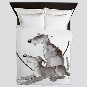 Scottish Deerhounds in Heart Queen Duvet