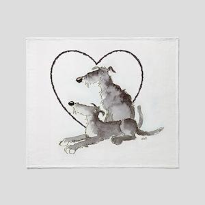 Scottish Deerhounds in Heart Throw Blanket