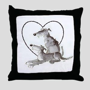 Scottish Deerhounds in Heart Throw Pillow