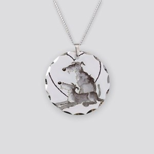 Scottish Deerhounds in Heart Necklace Circle Charm