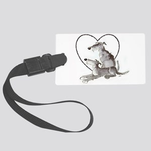 Scottish Deerhounds in Heart Large Luggage Tag