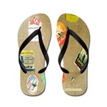Vintage Travel Sticker Suitcase Flip Flops