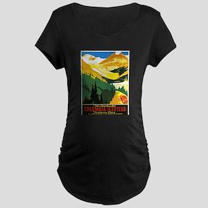 Canada Travel Poster 7 Maternity Dark T-Shirt