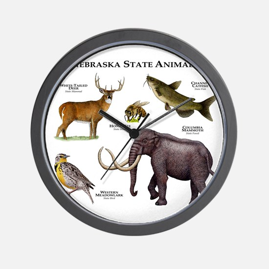 Nebraska State Animals Wall Clock