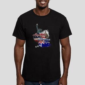 USA - Australia: Men's Fitted T-Shirt (dark)