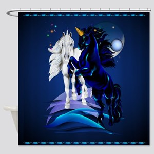 Two Unicorn Stallions Shower Curtains
