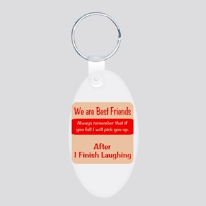 Best Friends Aluminum Oval Keychain