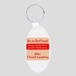 Best Friends Aluminum Oval Keychain