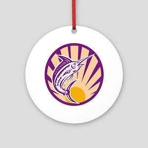 Blue Marlin Fish Jumping Retro Ornament (Round)