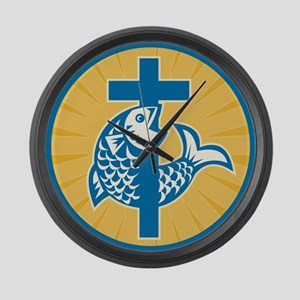 Fish Jumping With Cross Retro Large Wall Clock