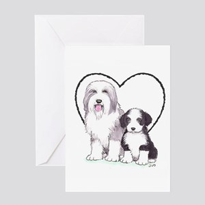 Bearded Collies Greeting Card