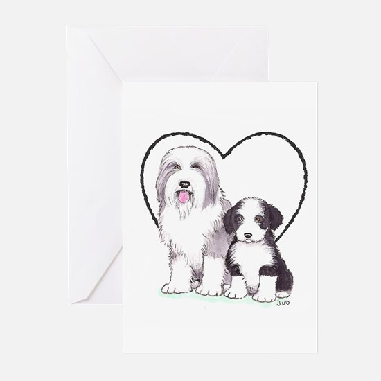 Bearded Collies Greeting Cards (Pk of 10)
