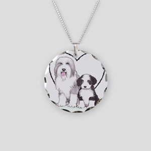 Bearded Collies Necklace Circle Charm