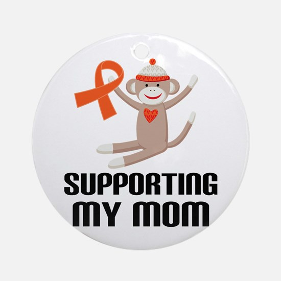 Support Mom Orange Ribbon Ornament (Round)