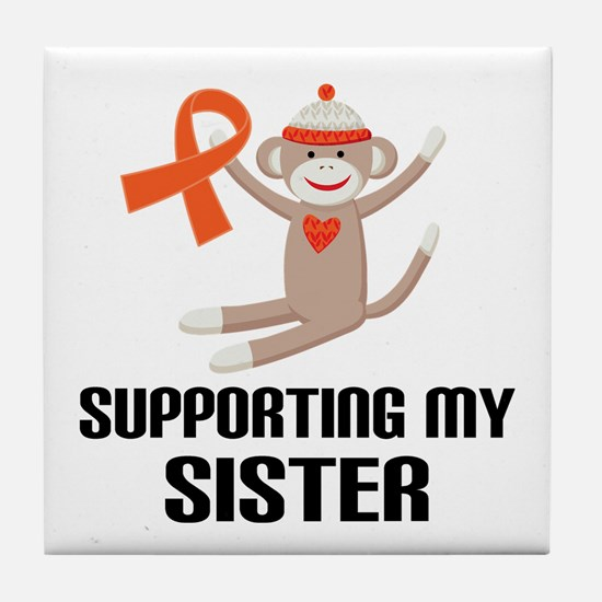 Support Sister Orange Ribbon Tile Coaster
