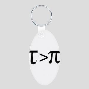 Tau Greater than Pi Aluminum Oval Keychain
