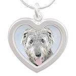 Irish Wolfhound Silver Heart Necklace