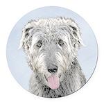 Irish Wolfhound Round Car Magnet