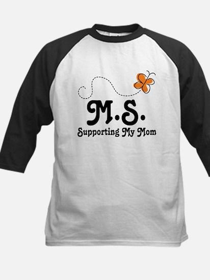 Support Mom MS Butterfly Kids Baseball Jersey