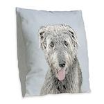 Irish Wolfhound Burlap Throw Pillow