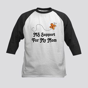 Support Mom MS Butterfly Kids Baseball Jersey