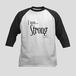 I am Strong Romans 8:37 Kids Baseball Jersey