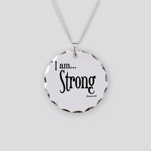 I am Strong Romans 8:37 Necklace Circle Charm