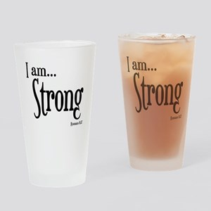 I am Strong Romans 8:37 Drinking Glass