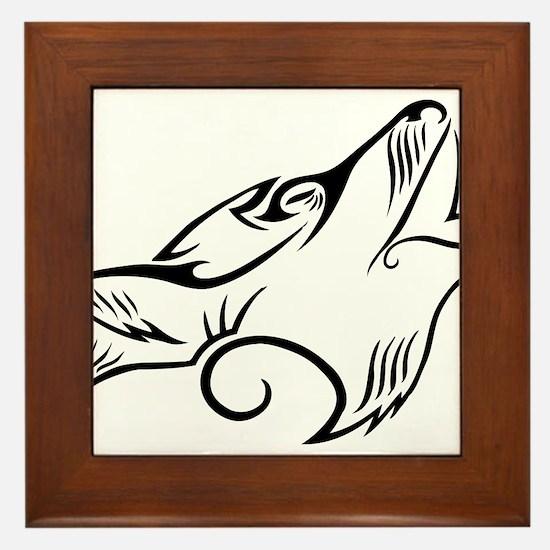 Black Howling Wolf Tribal Tattoo Framed Tile