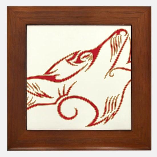 Howling Wolf Red Tan Framed Tile