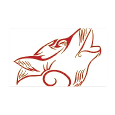 Howling Wolf Red Tan 35x21 Wall Decal
