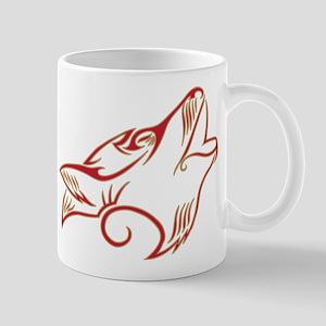 Howling Wolf Red Tan Mug