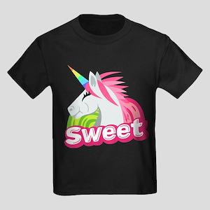Emoji Unicorn Sweet Kids Dark T-Shirt