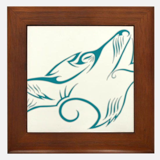 Turquoise Howling Wolf Tribal Tattoo Framed Tile